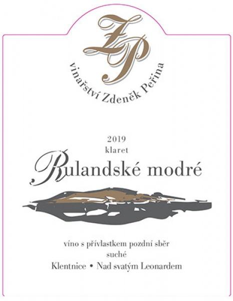 Rulandské modré klaret 2019, víno s přívl. pozdní sběr