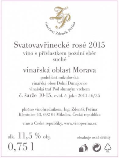 Svatovavřinecké rosé 2015