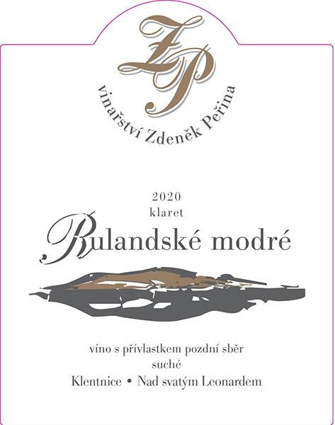 Rulandské modré klaret 2020, víno s přívl. pozdní sběr