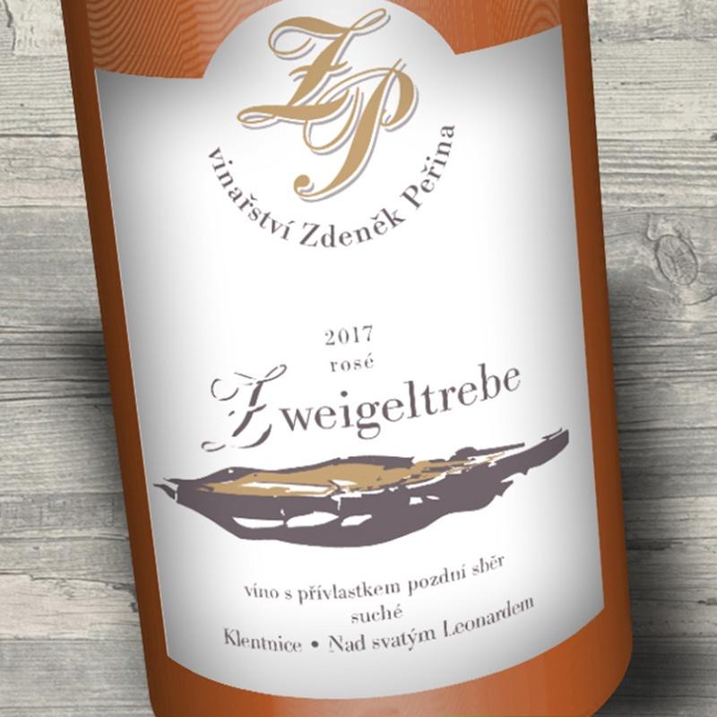 Zweigeltrebe rosé 2017, víno s přívl. pozdní sběr