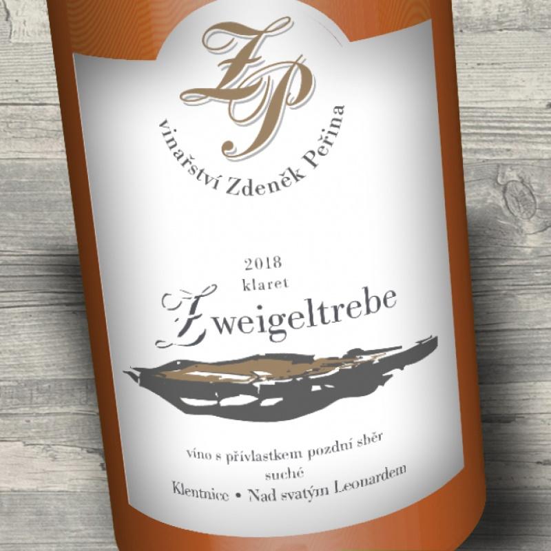Zweigeltrebe klaret 2018, víno s přívl. pozdní sběr